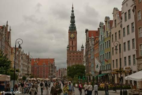 Das Zentrum der Altstadt von Danzig mit dem Rathaus